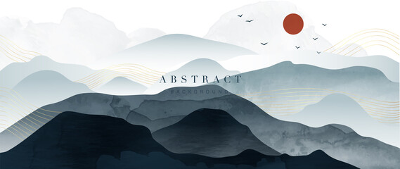 Fototapeta Mountain and golden line arts background vector. Oriental Luxury landscape background design with watercolor brush and gold line texture. Wallpaper design, Wall art for home decor and prints. obraz