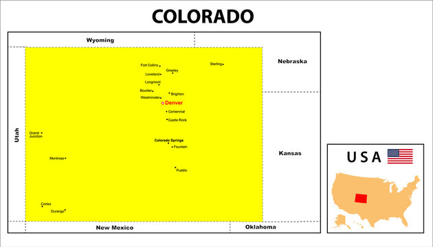 Main cities in Colorado in USA.