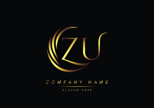 alphabet letters ZU monogram logo, gold color elegant classical