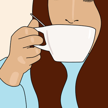 illustration of a woman holding a coffee cup