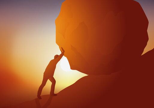 Concept du danger et de l'acte héroïque avec un homme qui se sacrifie, en retenant un énorme rocher pour l'empêcher de dévaler la pente