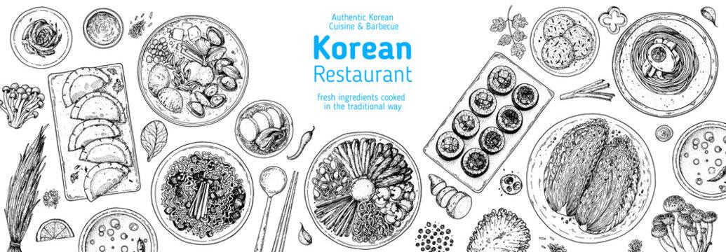 Korean food top view illustration. Hand drawn sketch. Bibimbap, kimchi, kimbap, dumplings mandu, noodles, skewers. Korean street food, take away menu design. Vector illustration.