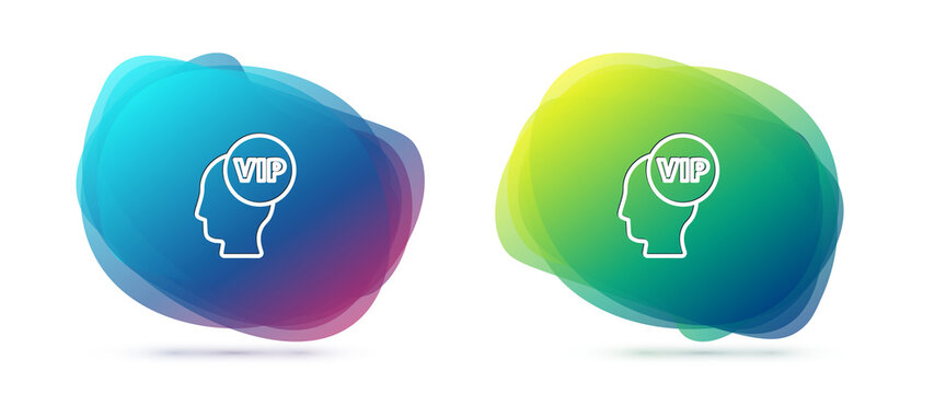Set line Vip inside human head icon isolated on white background. Abstract banner with liquid shapes. Vector
