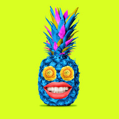 Fototapeta Contemporary art collage, modern design. Summer time mood. Blue pineapple with big female red lips on bright trendy neon background. obraz
