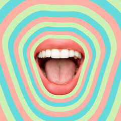 Contemporary art collage, modern design. Summer time mood. Composition with female opened mouth...
