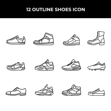 A set of simple outline shoes icon