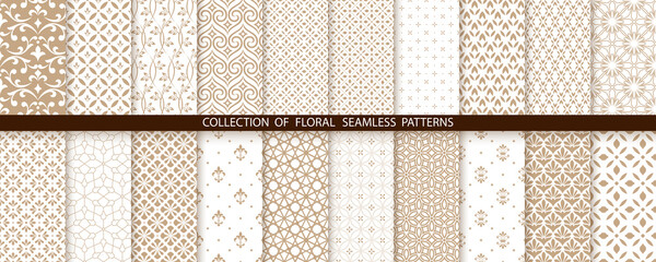 Fototapeta Geometric floral set of seamless patterns. Gold and white vector backgrounds. Simple illustrations obraz