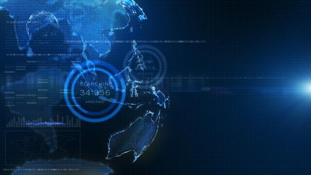 Futuristic Blue digital HUD earth world information hologram user interface background. 3D rendering..