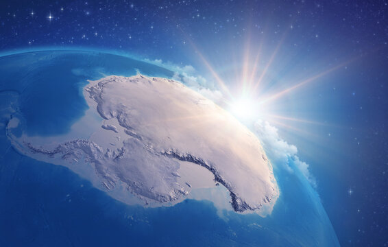 Sunrise through clouds, upon a high detailed satellite view of Planet Earth, focused on South Pole, Antarctic. 3D illustration - Elements of this image furnished by NASA