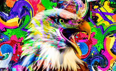 colorful artistic eagle isolated on white background