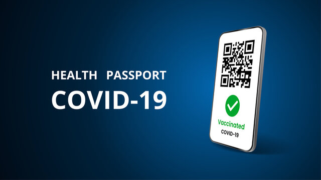 Realistic mobile phone with covid 19 vaccination certificates. Template for tourist electronic passports without coronavirus. Dark background. Mockup. Isolated 3d vector