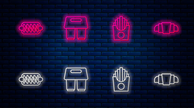 Set line Coffee cup to go, Potatoes french fries in box, Hotdog sandwich and Croissant. Glowing neon icon on brick wall. Vector