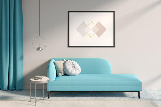 A sunny room with a horizontal poster on a light beige wall, blue curtains, a metal lamp over a coffee table next to a blue couch with two pillows, a beige carpet on colored parquet. 3d render