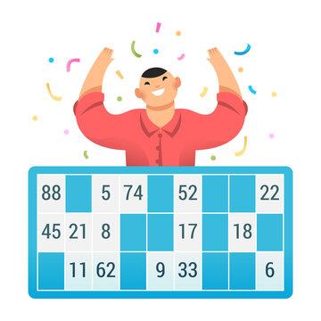 Loto bingo tombola numéro gagner confetti personnage mains en l'air joie fête gagnant loterie