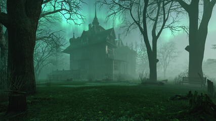 Obraz Old haunted abandoned mansion in creepy night forest with cold fog atmosphere, 3d rendering - fototapety do salonu