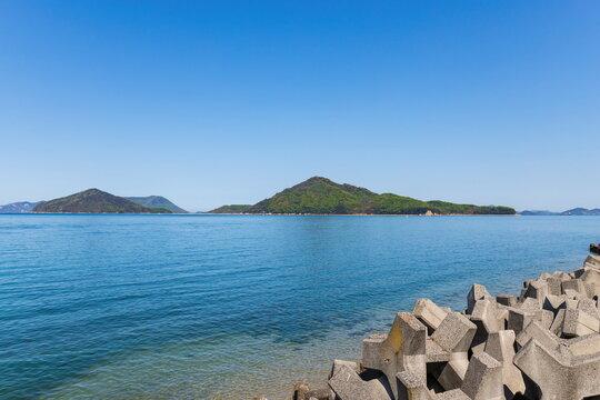 Landscape of coast and islands in the seto inland sea , view from shonai peninsula , mitoyo city, kagawa, shikoku, japan