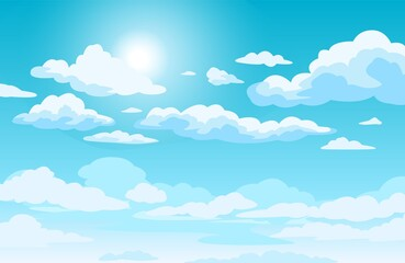 Fototapeta Blue sky with clouds. Anime style background with shining sun and white fluffy clouds. Sunny day sky scene cartoon vector illustration. Heavens with bright weather, summer season outdoor obraz