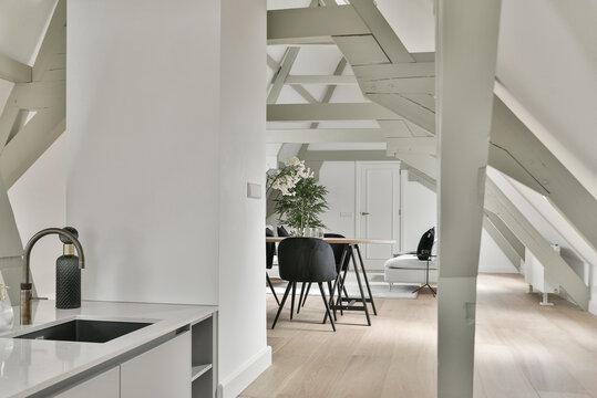 From inside cozy kitchen zone