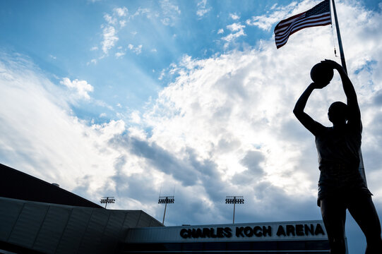 Wichita, Kansas, USA: 6-2021: Statue in front of Charles Koch Arena on the Wichita State University central campus where the Shockers play