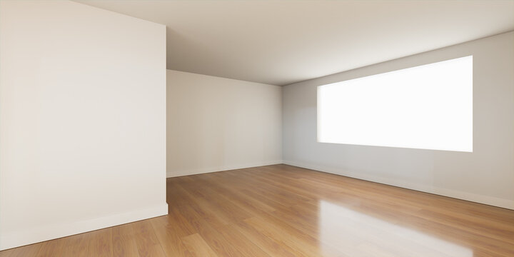 Interior Space. Empty White Room Background with a Wood Floor. 3D Render.