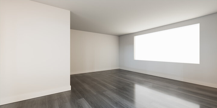 Interior Space. Empty White Room Background with a Grey Wood Floor. 3D Render.