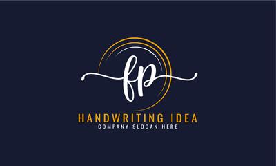 Obraz Initial F P, letter handwriting logo Design  - fototapety do salonu
