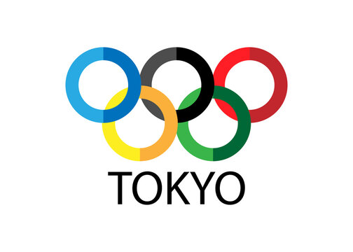 July 8, 2021. Kiev Ukraine.  Tokyo Olympics. Olympic rings on a white background.