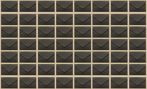 Pattern of stylish black envelopes