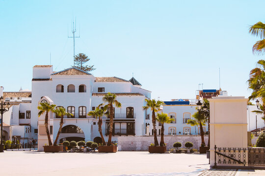 A Square In The Touristic Village Of Nerja, Province Of Málaga, Spain.