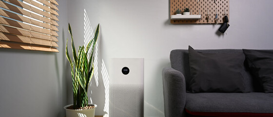 Air purifier with houseplant on the floor. Air pollution concept.