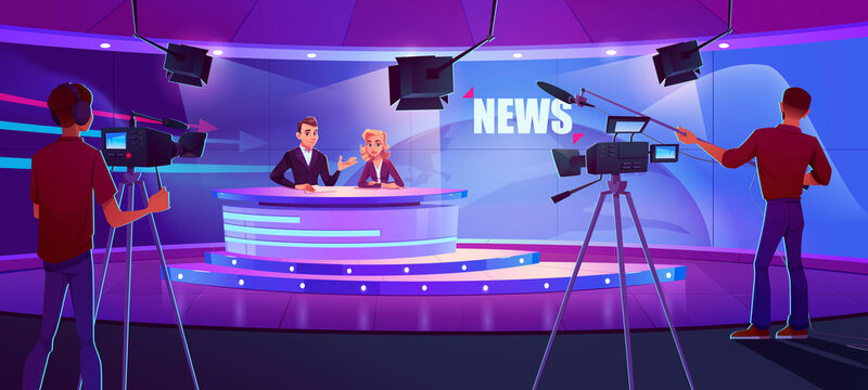 Tv presenters broadcasting news in modern television studio with cameraman, light equipment and earth on huge panoramic screen. Anchorman and newscaster reporting program, Cartoon vector illustration