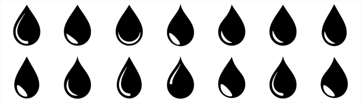 Water drop icon different shape. water drops collection. oil drop. Isolated on white background. Vector illustration.