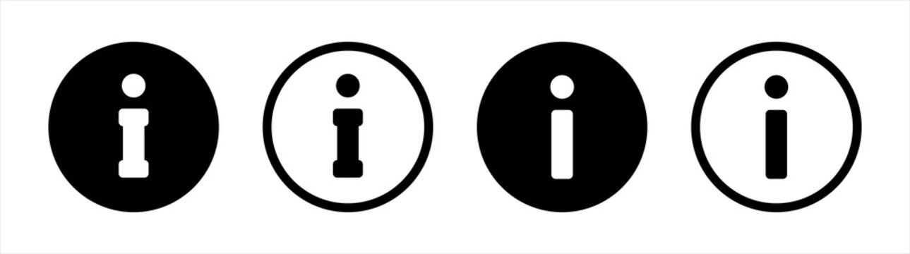 Info icon isolated in flat style. Set vector button for application and website.