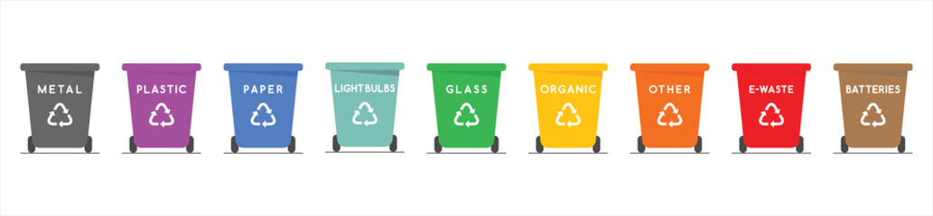 Fototapeta Trash can icon collection. Plastic containers for garbage of different types. Bin icon set. Waste management concept. Vector Illustration. obraz