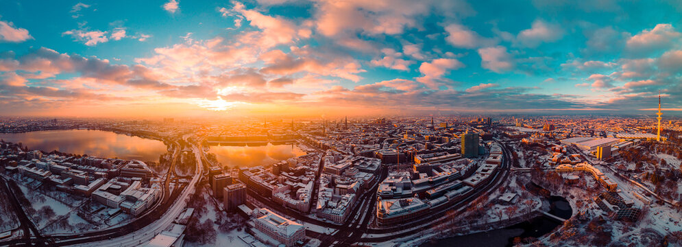 High Angle View Of Cityscape During Sunset Hamburg