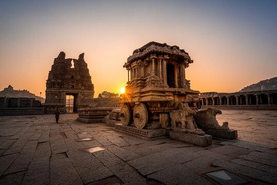 Vijaya Vitthala Temple. Beautifully carved out of a monolith rock, Hampi, Karnataka, India