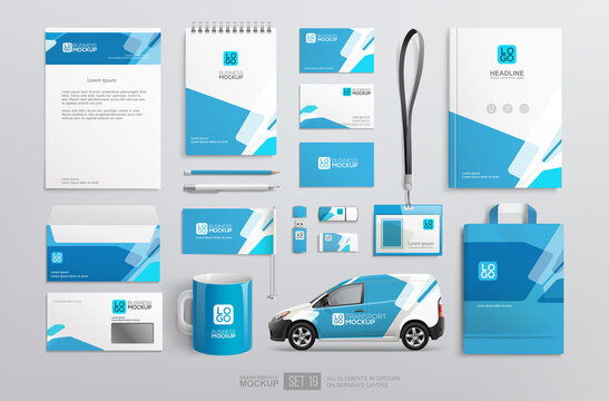 Stationery Brand Identity Mockup set with blue and white abstract geometric design.  Business stationary mockup template of Guide, annual report cover, van, brochure, bag, corporate mug