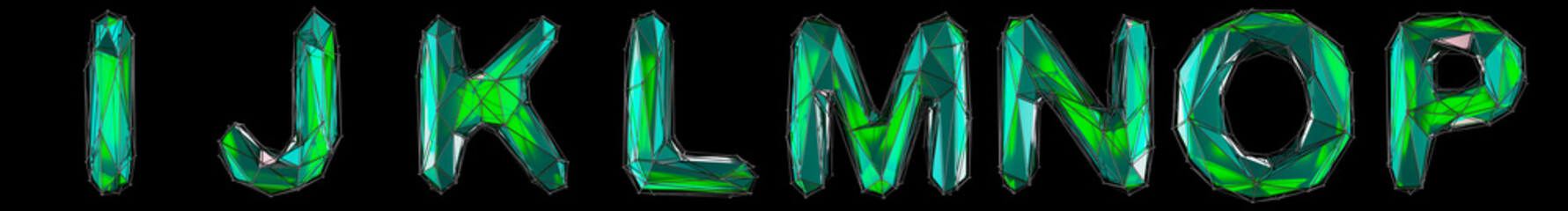 Obraz Realistic 3D set of letters I, J, K, L, M, N, O, P made of low poly style. Collection symbols of low poly style green color glass isolated on black background 3d - fototapety do salonu
