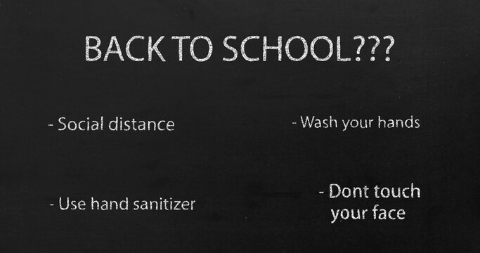 Image of Back to School??? and social distancing text moving.