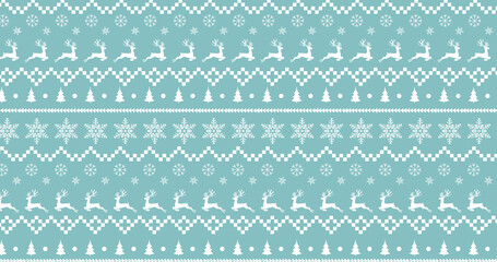 Traditional Christmas pattern with reindeers and stars moving against green background