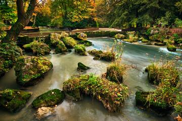 Munich English garden Englischer garten park in autumn. Munchen, Bavaria, Germany