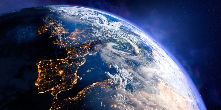 Planet Earth with exaggerated precise relief and volumetric atmosphere. Day-night transition. Europe. Spain and Portugal in the foreground. 3D rendering. Elements of this image furnished by NASA
