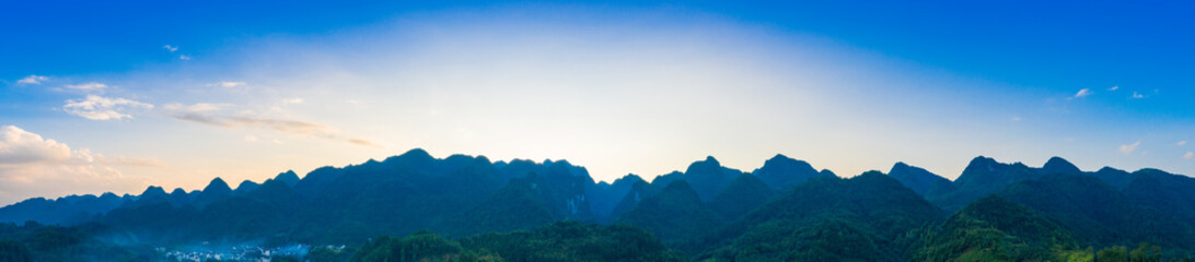 Fototapeta Panoramic view of peaks in xiaoqikong scenic area, Libo County, Guizhou Province, China obraz