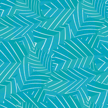 Lino print style aqua blue stylised vector leaves seamless pattern background. Texture backdrop with overlapping foliage and visible linear leaf veins. Textured botanical design. Monochrome repeat.
