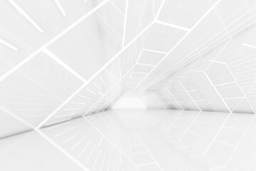 Obraz Abstract 3d rendering of empty futuristic tunnel room with light on the wall. Sci-fi concept. - fototapety do salonu