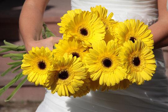 Gelbe Blumen in der Hand einer Braut