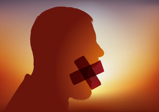 Concept de la liberté d'expression et de la censure, avec un homme dont la bouche est recouvert d'un sparadrap pour l'empêcher de parler.