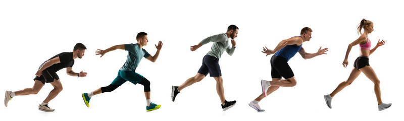 Obraz Sport collage. Male and female joggers, runners in action isolated on white studio background. - fototapety do salonu