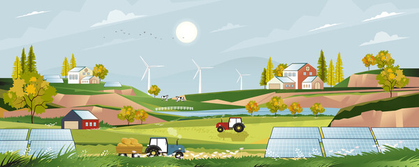 Green energy,Eco friendly in village with Solar house and windmill power,Vector solar farm on harvested field with farmhouse,tractor,wood barn, cows in the countryside.Cartoon environmentally friendly