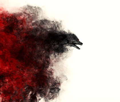 Illustration of a Werewolf emerging out of a black and red cloud of smoke